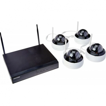 Kit Monitoramento Hikvision HikHome NK4W1-1T SmartHome (NVR/4 Cameras Dome/WiFi/IP66/IR 30m/1TB HDD)