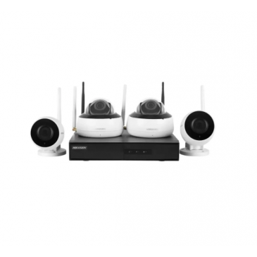 Kit Monitoramento Hikvision HikHome NK4W2-1T SmartHome (NVR/2 Cameras Bullet/2 Cameras Dome/WiFi/IP66/IR 30m/1TB HDD)